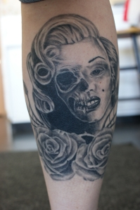 Eric Ochsenkehl, owner of Evolved Artforms, did the above on the forearm of a man. The black and grey piece is approximately 8-10 inches in height. COURTESY PHOTO.