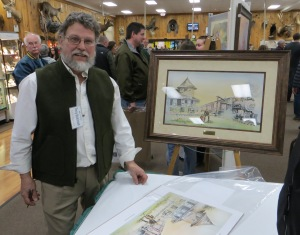 Artist Terry Dickinson signed prints of Clare's historic train depot, a print he did especially for A Northern Tradition