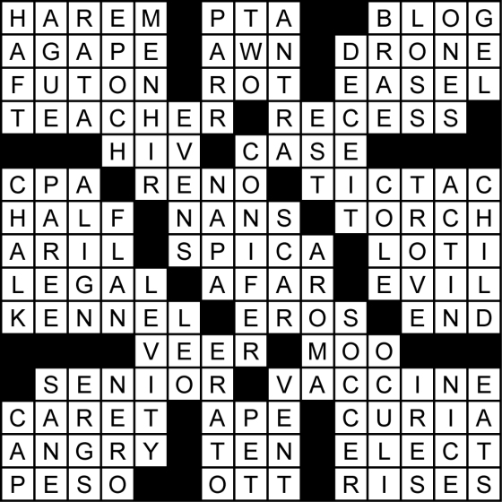 Back-To-School Crossword Puzzle Solution