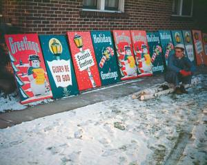 1951: While designing window displays for Jennison's Hardware in nearby Bay City, Michigan, Wally Bronner meets merchants from Clare, Michigan, looking for Christmas decorations for city lampposts. He creates a custom line of panels that mark the start of his career in Christmas decorations.