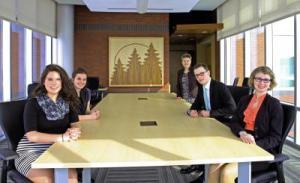 2015 Laker Distinction Presidential Scholars (from left to right): Alana Keen, Tessa Huovinen, MMCC President Chris Hammond, Robert Mayra and Kara Bourland