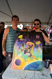 Payton (left) and Dillon (right) Pringle took 2nd place for their collaborative piece at ArtWalk Central's Art Battle.  (Courtesy photo)
