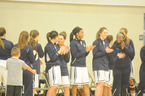 Last year's Lady Lakers cheer from the sidelines.
